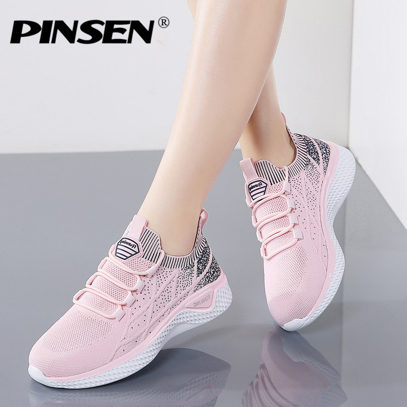 PINSEN 2020 New Fashion Sneakers Women Breathable Mesh High Quality Casual Shoes Woman Lace-Up Basket Femme zapatillas mujer title=