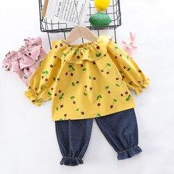2020 primavera menina conjunto de roupas crianças bonito impressão flor topo + calças 2 peças conjuntos menina do bebê