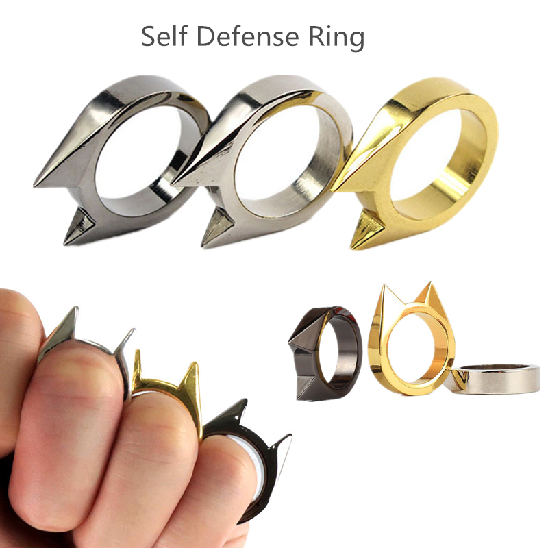 Lateefah Self Defense Ring Personal Self Defense Weapons Men Women Survival Protection Finger Ring Safety Tool Stainless Steel