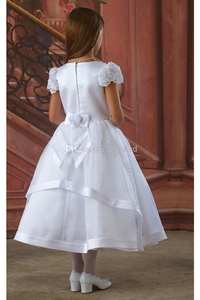 Dress Short-Sleeve Flower-Girls' Appliques Wedding White Lace for with A-Line-Capped