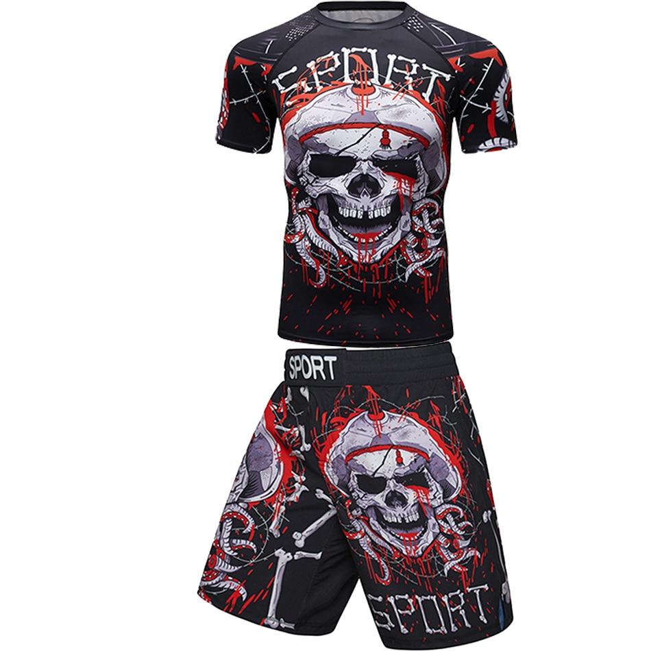 T-shirts+pants Men Boxing Shorts Rashguard Mma Kickboxing Sets Muay Thai Long Sleeve Fitness Sport Jiu Jitsu Boxeo Jerseys Set