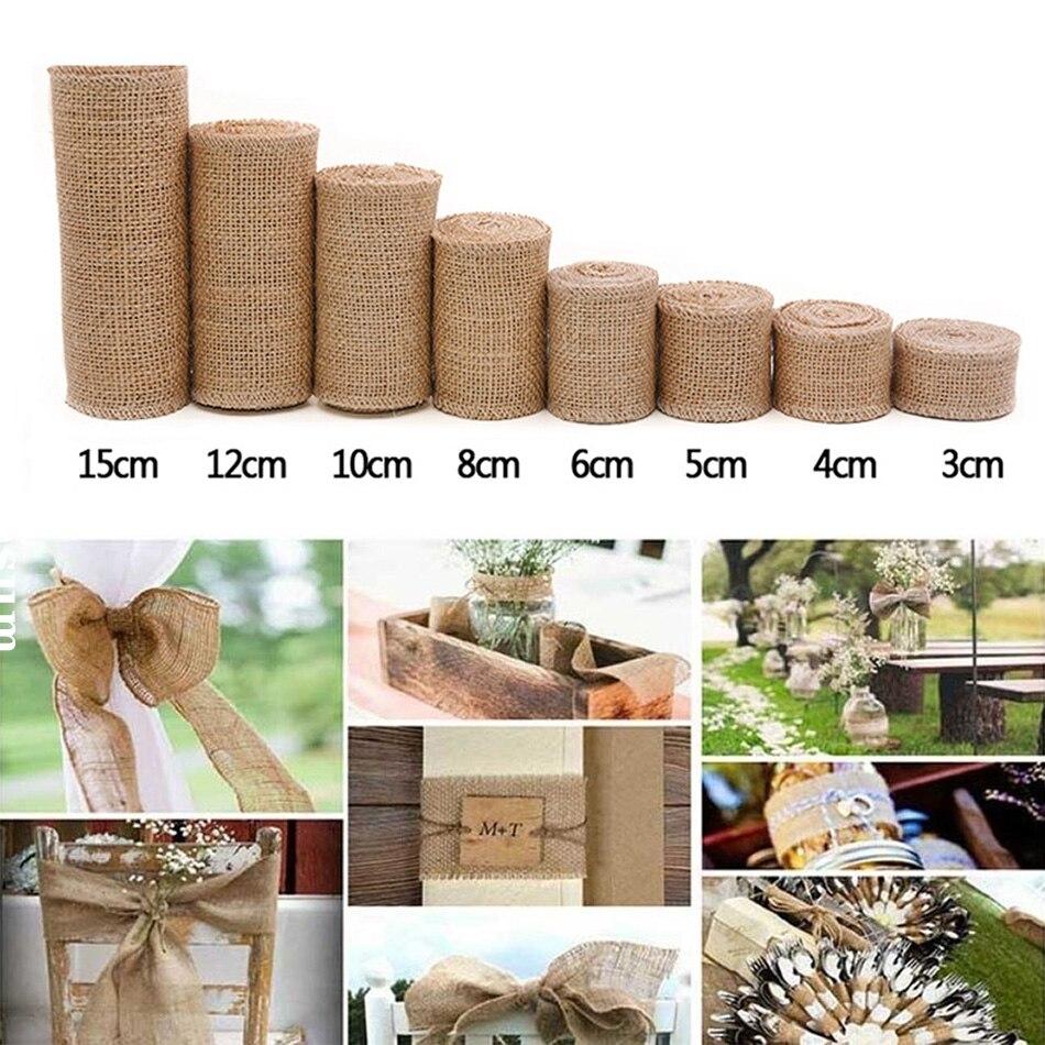 2 medidor/rolo natural juta tecido serapilheira para artesanato fita de cânhamo flores decorações de natal para casa handwork embrulho de presente diy
