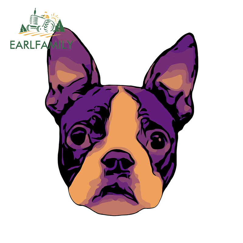 EARLFAMILY 13cm x 10.5cm For Boston Terrier Car Motorcycle Stickers Car Accessories Decal Laptop Creative Sticker Decoration