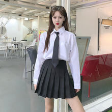 White Shirt Ladies Long Sleeve Shirt 2020 New Students Tie College big size japanese fashion JK uniform  school girl skirt