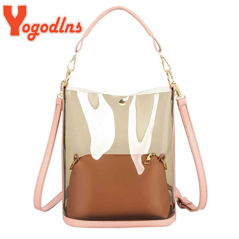 Yogodlns אופנה 2pcs נשים ברור שקוף כתף תיק ג 'לי ממתקי קיץ חוף תיק אישה שליח שקיות Bolsa Feminina