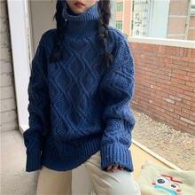 Женский свитер водолазка с длинным рукавом в винтажном стиле