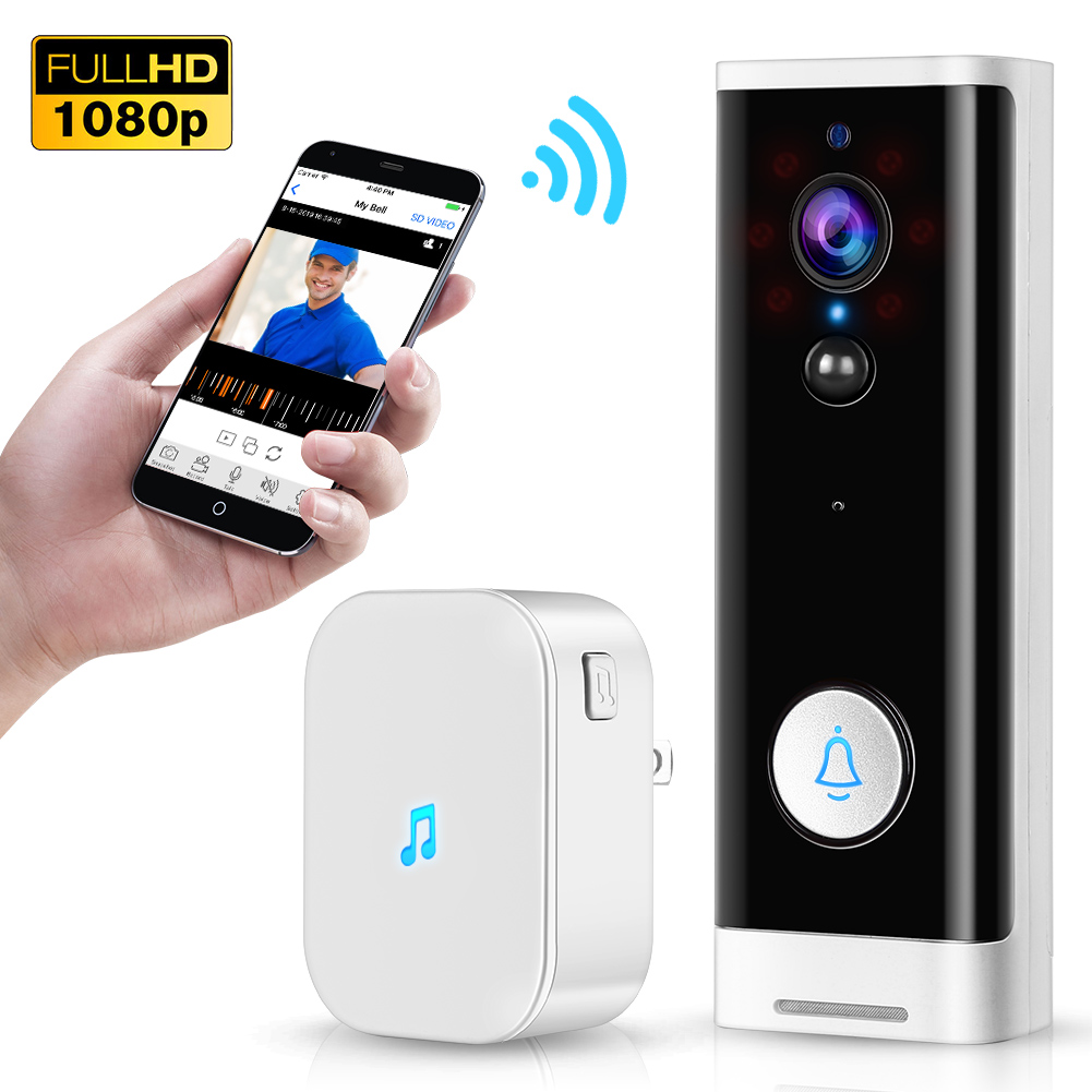 WiFi Video Doorbell 1080P Wireless Smart Security Camera Door Bell 2-way Talk PIR Motion Detection Night Vision Tuya Intercom