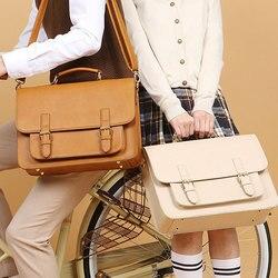 2020 New Women British Leather Handbag Business Briefcase Men 13.3 Laptop Bag Leather Schoolbag Male Shoulder Bag Textbook Bags