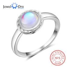 JewelOra Classic 925 Sterling Silver Ring con Rotonda Moonstone Wedding Band Anelli per Le Donne Gioielli In Argento 925 di Giorno della Madre regalo