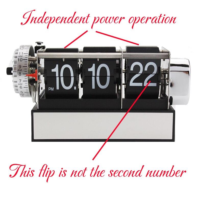1 Piece Black White Automatic Flip Desk Alarm Clock For Art Home and Office Decorative Mini Table Clock 3