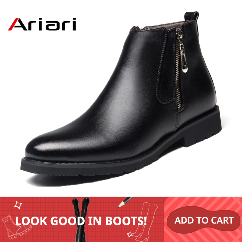 Men's Ankle Shoes Fashion Chelsea Boots Male Leather Men Boots Dress Shoes Wedding Party Casual Flats