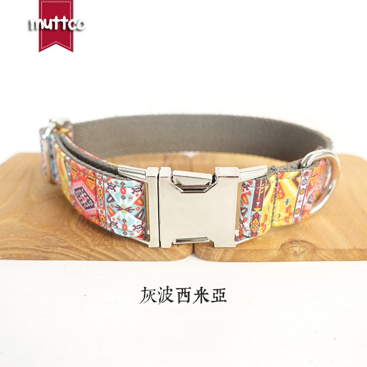 Simple Design Style Dog Collar Metal Buckle Dog Collar National Style Pet Supplies Style