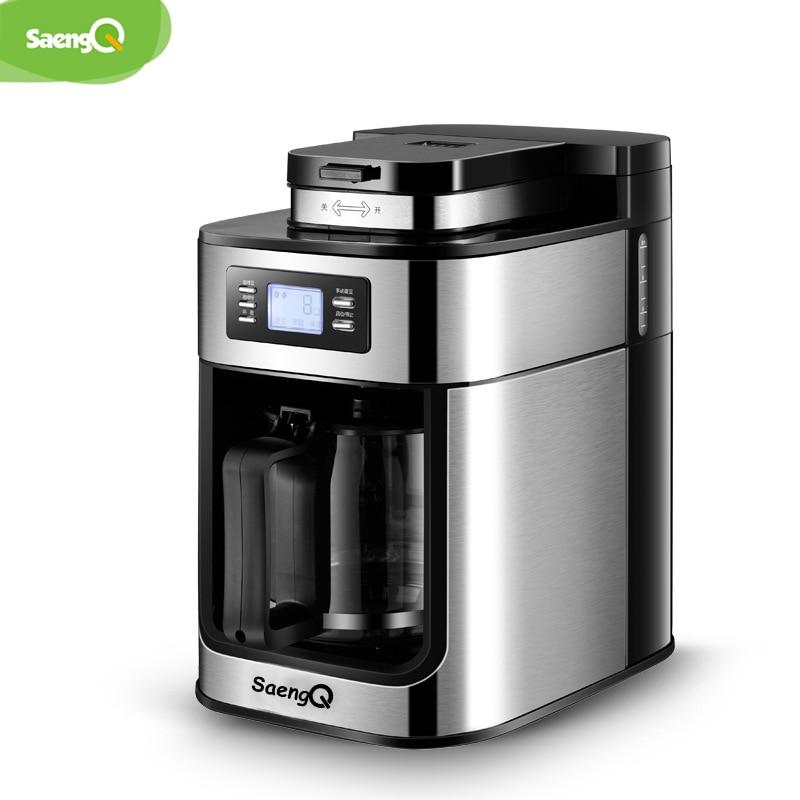SaengQ Machine à café électrique moulin à café Express électrique mousse cafetière appareils de cuisine 1200ml Machine à café