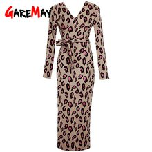 GareMay winter Luipaard Print Lange Mouwen Slanke Bodycon Elegante Sexy Wrap Jurk 2019 Herfst Winter Warm Jurken Vrouw Party Night(China)