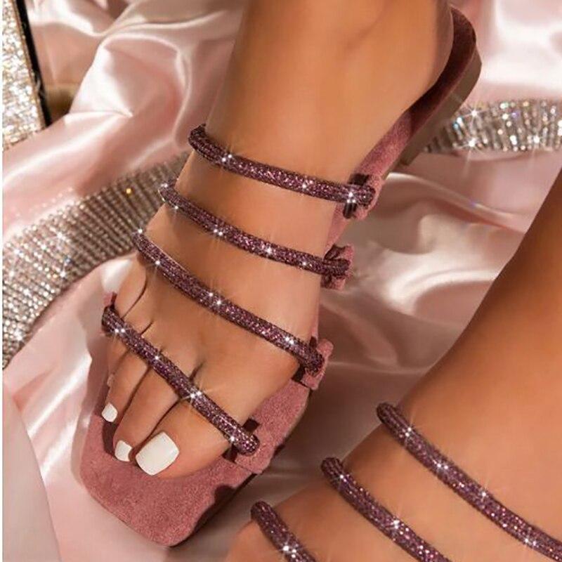 Fashionable Roman Rhinestone New Summer Flat-bottom Female Slippers Sexy Comfortable Handmade Open Toe Outdoor Plus Size Shoes