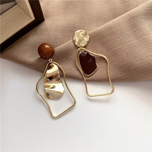 New Korean Black Acrylic Drop Earrings For Women Punk Jewelry Vintage Statement Black Metal Crystal Dangle Hanging Earring