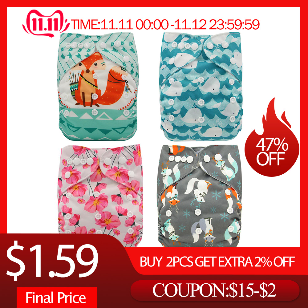 Ohbabyka Eco-friendly Diaper Cover Wrap Washable Diapers Couches Lavables  Baby Nappy Changing Reusable Nappy Baby Cloth Diapers