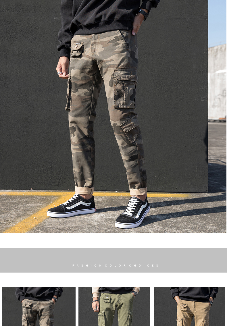 KSTUN Cargo Pants Men Straight Cut 100% Cotton Overalls Casual Pants Men Multi Pockets Camouflage Full Length Trousers Top Quality 11