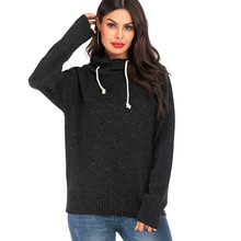 sweater women Pullover Drawstring Long Sleeve Hooded Sweater Tops Ladies Fashion Streetwear turtleneck christmas or22