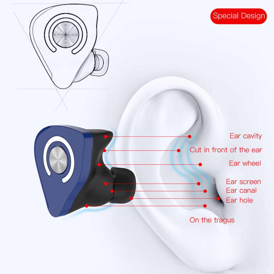 TWS Bluetooth 5.0 prawdziwe słuchawki bezprzewodowe z redukcją szumów sportowy zestaw słuchawkowy Stereo zestaw głośnomówiący słuchawki douszne z mikrofonem na telefon komórkowy