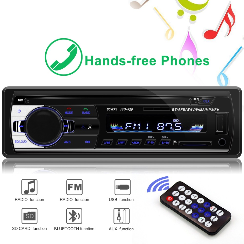 רכב רדיו miniJSD520 12V Bluetooth רכב סטריאו במקף 1 דין FM Aux קלט תמיכה Mp3/MP4 USB MMC WMA AUX TF רכב רדיו נגן title=