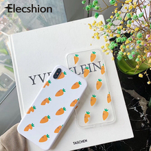 Korea Cute Carrot Phone Case For iPhone 6 6s 7 8 X Transparent TPU Soft Cover XR XS Max Cartoon Patterned