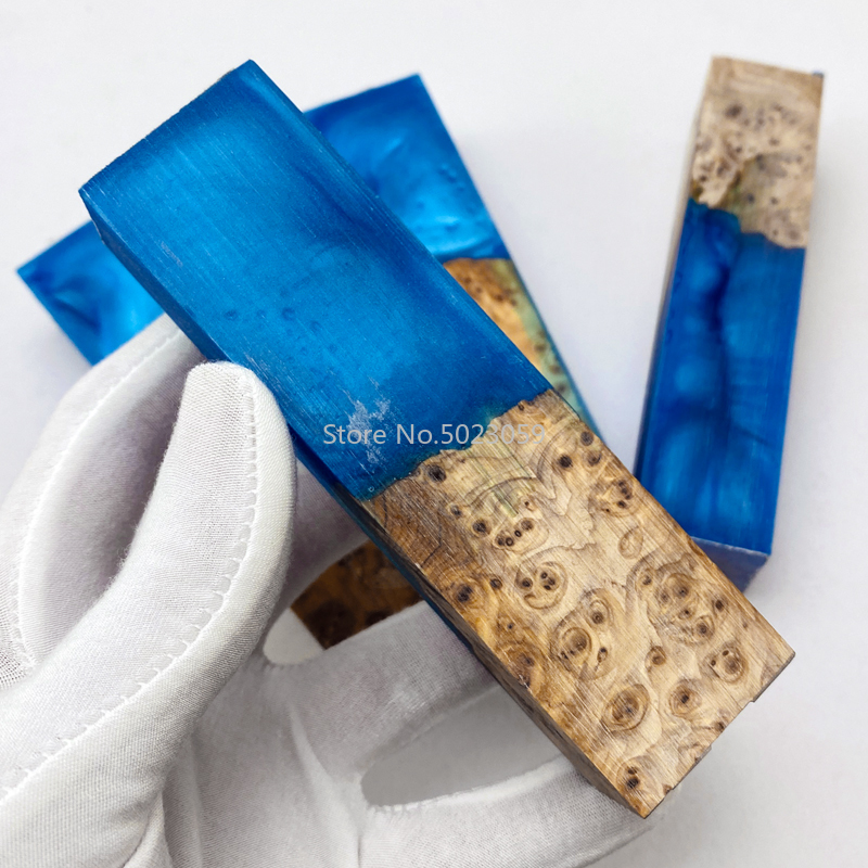 1piece Resin Mixed Burlap Wood Knife Handle Material For DIY Knife Handle Making Resin Plate Material 105X34X27mm