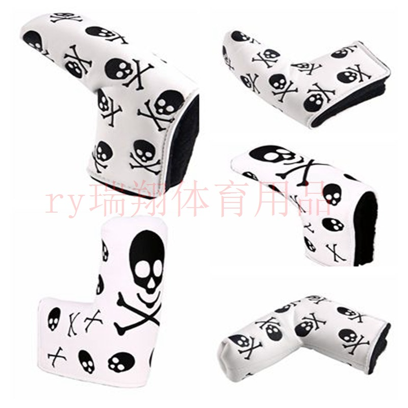 Golf Push Rod Case Skull Embroidered Pu Material Velcro Buckle Thick Fit Protection