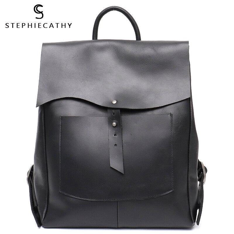 Sc feminino italiano mochila de couro do vintage estilo retro aleta fivela grandes sacos de ombro escola vida viagem férias mochilas
