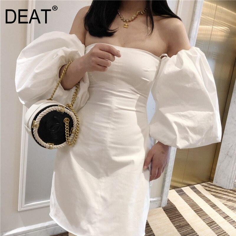 DEAT 2020 nouveau été mode femmes vêtements fermer slash col lanterne manches hors de l'épaule mini longueur robe sexy WG28900L