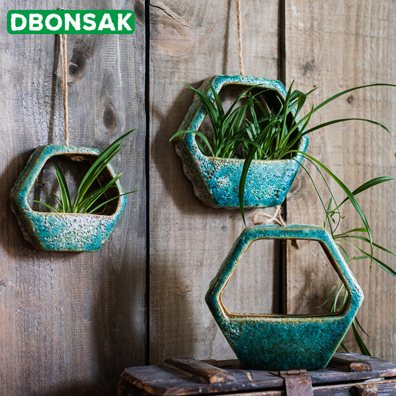 Ceramic Wall Hanging Flower Pot Hanging Basket Hydroponic Scindapsus Potted Plant Flower Pot Handmade Lanyard Suspension Decor
