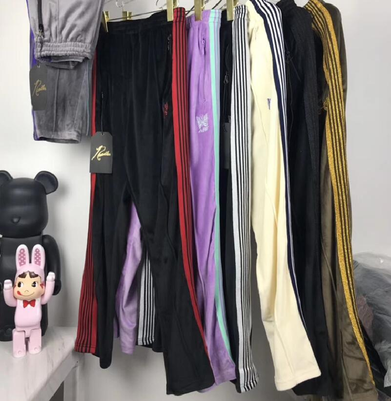 20FW Embroidery AWGE Needles Sweatpants Men Women High Quality Butterfly Striped Joggers Velvet Needles Pants AWGE Sweatpants