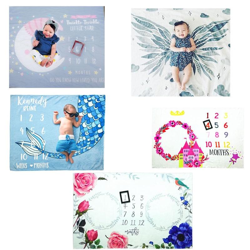 Infants Milestone Photography Blanket Little Lion Printing Pattern Baby Creative Photo Background Cloth Decoration