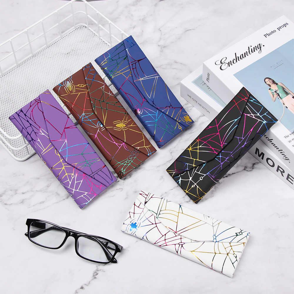 Moda quente portátil dobrável plutônio à prova dwaterproof água forte ímã eyewear caso padrão aranha triângulo óculos caixa de proteção