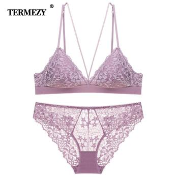 TERMEZY Fashion Sexy Bra set Lingerie Push Up Brassiere Lace Underwear Thin breathable Jacquard Panties Free Shipping