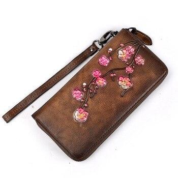 Embossed Floral Retro Zipper Wallet