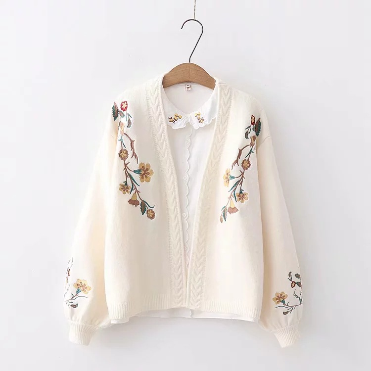 Fall And Winter Clothes College Style Hipster Student Cardigan Flower Embroidered Loose-Fit Lantern Sleeve V Neck Sweater Coat F