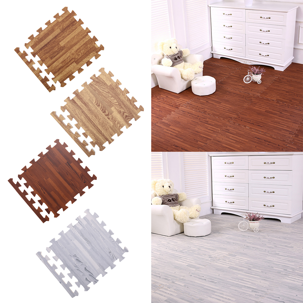 18 Pieces Wood Grain Floor Mat Foam Interlocking Flooring Tiles with Borders – for Home Office Playroom Basement image