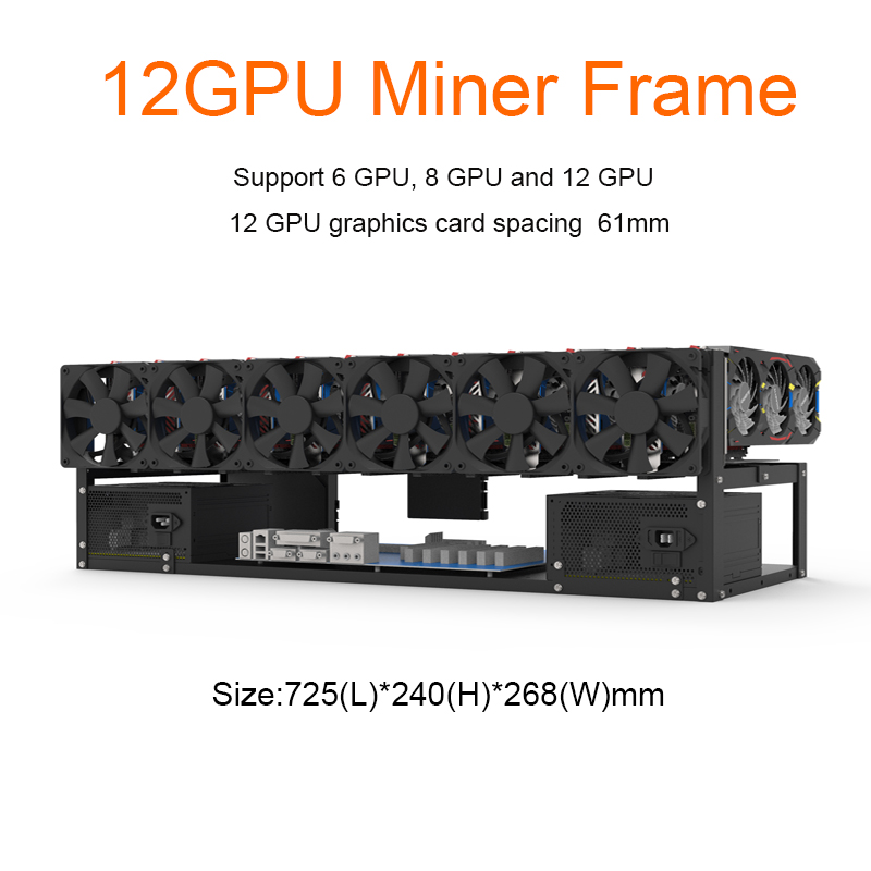 12 GPU Mining Rig Steel Open Air Miner Frame Case ETH/ETC/ZEC Ethereum Accessories Tools For Crypto Coin Bitcoin Rack