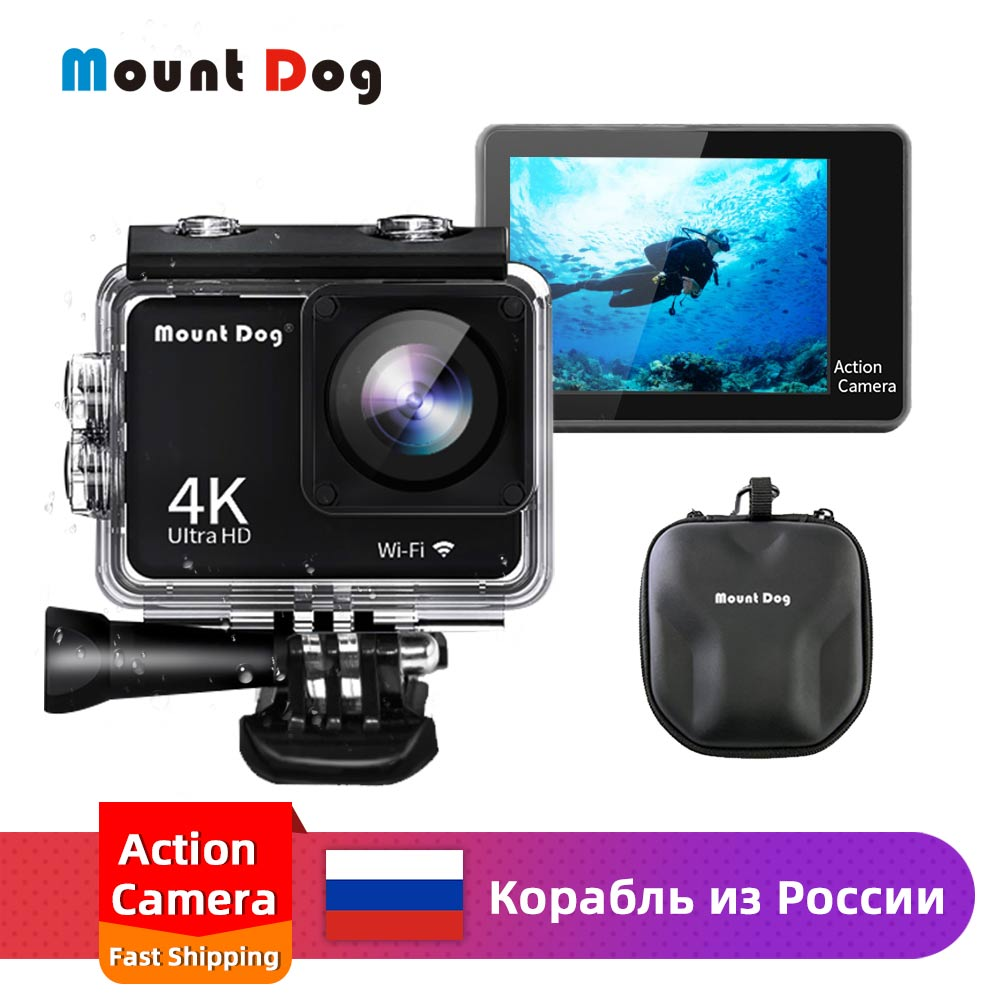 "MountDog 4K Sports Action Camera 30fps WiFi 2.0"" Screen 170D Underwater Waterproof Mini Helmet Video Recording Cameras Sport Cam"