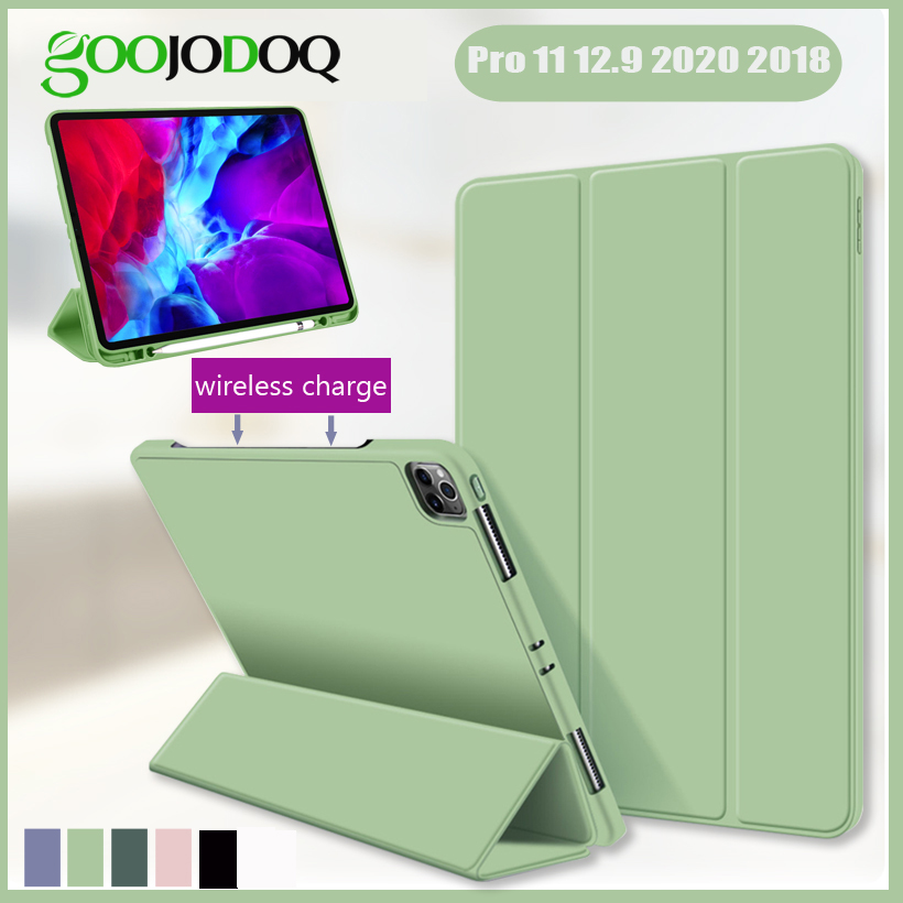 For IPad Pro 11 2020 2018 Case With Pencil Holder For Pro 11 12.9 2020 2018 Case Wireless Charging Silicone Capa Auto Sleep/Wake