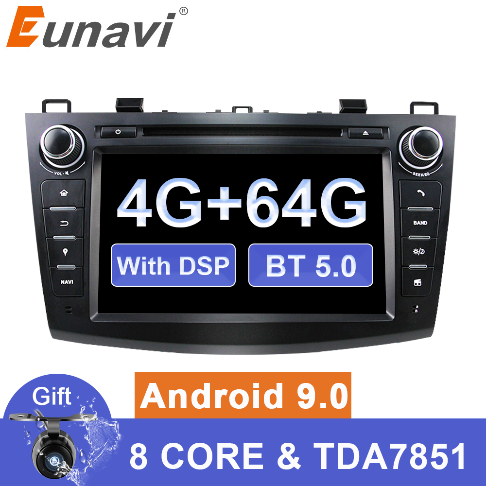 Eunavi Android 9 Car DVD for <font><b>MAZDA</b></font> <font><b>3</b></font> 2007-2012 2 din Multimedia radio stereo player <font><b>gps</b></font> <font><b>navigation</b></font> 1024*600 HD dsp Octa core image