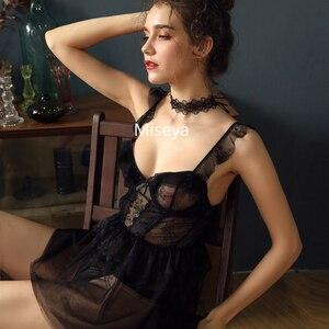 Image 4 - צרפתית סקסי שינה שמלות דק תחרה ראפלס גזה קלע קצר שמלת אטרקטיבי Sleepshirts כותנות לילה עבור נשים