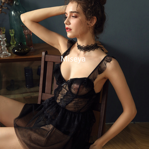 Image 4 - Francês Sexy Dormir Vestidos De Babados de Renda Ultra fina Gaze Estilingue Vestido Curto Atraente Sleepshirts Camisolas para Mulheres