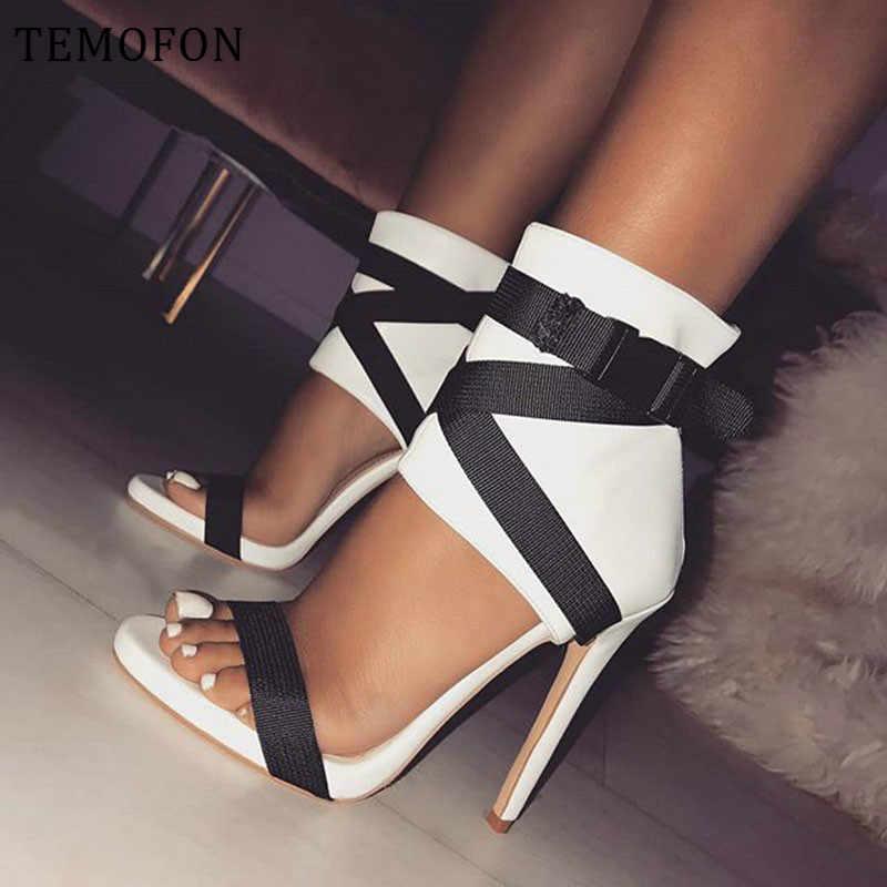 TEMOFON גבוהה עקבים פיפ הבוהן משאבות סקסי לבן שחור אדום גבירותיי משאבות נעלי נשים עקב גבוהה משאבות עם רצועת חתונה נעלי HVT714