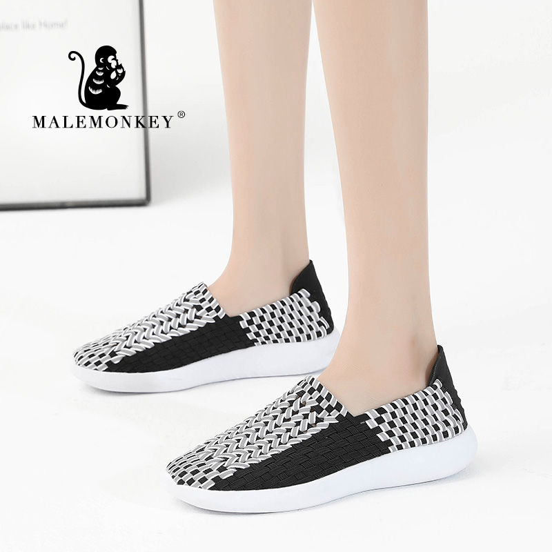 MALEMONKEY 013020 <font><b>Women</b></font> Sneakers 2020 New Breathable Knitted Slip On Flat <font><b>Shoes</b></font> Casual Mesh Walk Footwear Sneakers <font><b>Women's</b></font> <font><b>Shoes</b></font> image
