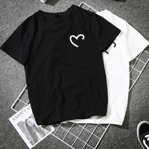 Cute Couples BFF Tshirt Novelty Tee Shirt Femme Harajuku Streetwear Funny Heart Print T-Shirt Women Black White Female Lovers