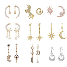 LEGENSTAR New Star Moon Dangle Earrings for Women Pendientes Fashion Jewelry Charm Stud Earrings Boucle d oreille Femme 2019 2019 simple gold color star stud earrings for women earrings copper bijoux jewelry brincos oorbellen boucle d oreille pendientes