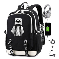 DJ Mello Backpack for Teenager Boys Girls Student School Bag with Usb Charging Printing Laptop Travel Backpack for Men Women
