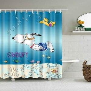 Dafield Shower Curtain Snoopy Peanuts Cartoon Dinosaur Seaworld Owl World Map Nautical Fabric Bathroom Boys Girls Kids(China)